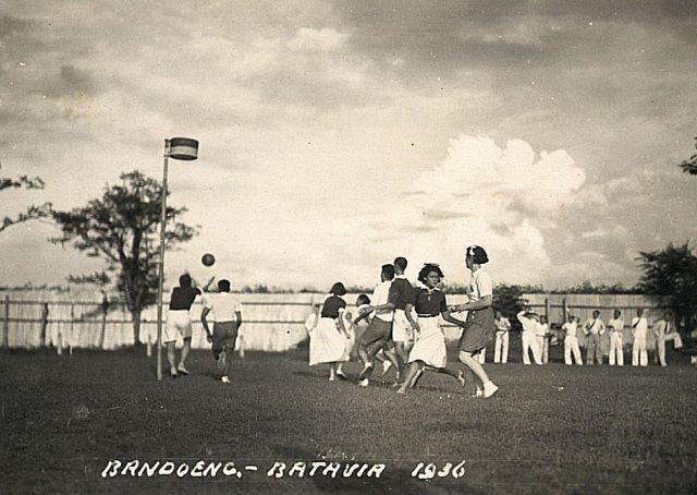 Korfbalwedstrijd Bandoeng-Batavia, 1936