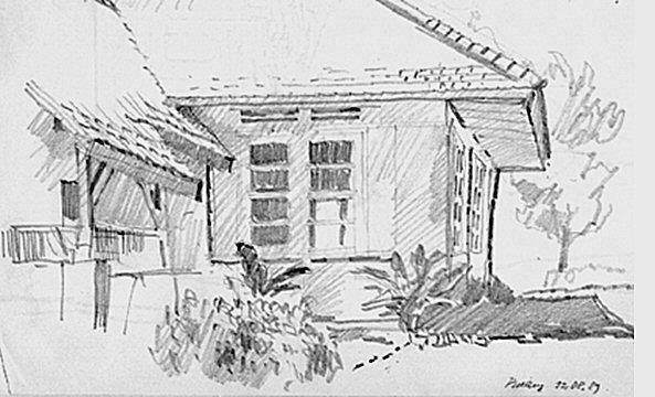 Het huis te Pinang. Schets gemaakt door de auteur, 1989.