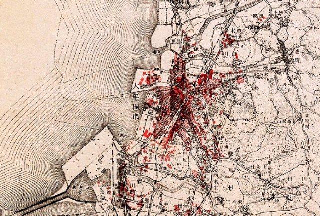 Omuta: het door bombardementen getroffen gebied (1945)