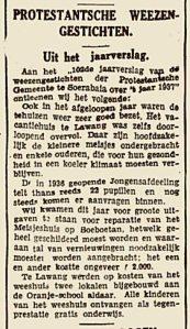Het jaarverslag van het weeshuis in betere tijden, 1937.