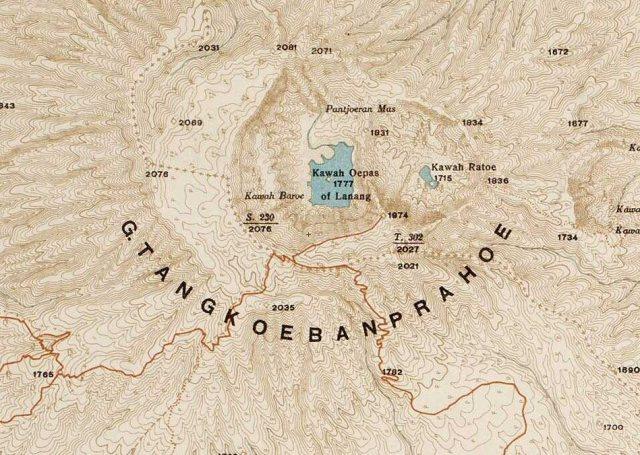 Kaart Tangkoeban Prahu, met wandelroute vanuit Lembang