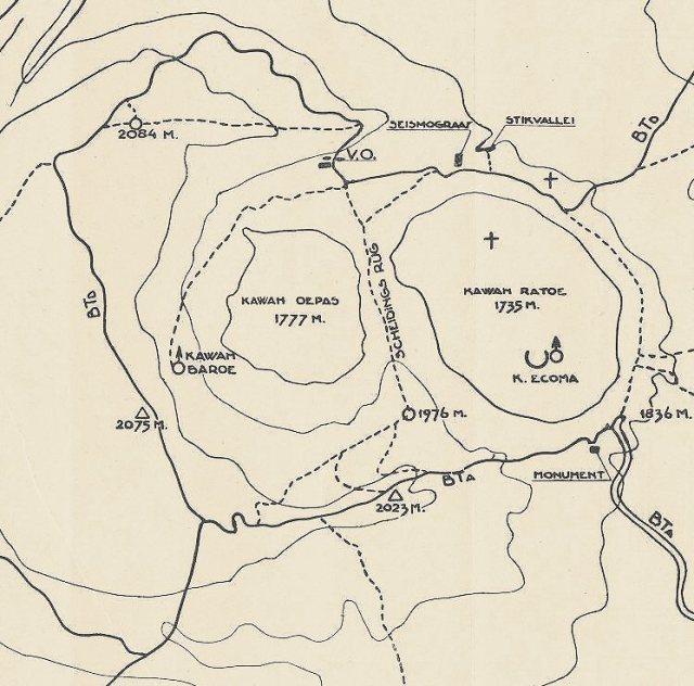 Kaart uit wandelgids, 1932. Zie locatie van monument, links van einde Hooglandweg (rechtsonder)