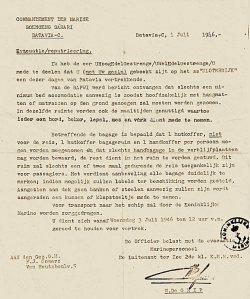 Brief m.b.t. evacuatie gezagvoerder Gouvernements Marine F.J. Somers