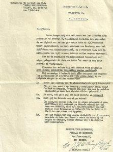 Brief van het hoofd evacuatiebureau aan de moeder van de auteur, 1949.