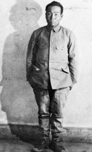 Muta, één van de kampbewakers van Fukuoka 17, kort voor zijn berechting.