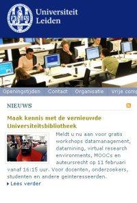 website Universiteit Leiden