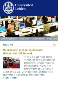 website Universiteit Leiden