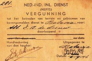 Vergunning Nefis op naam van E.A. de Leeuw.