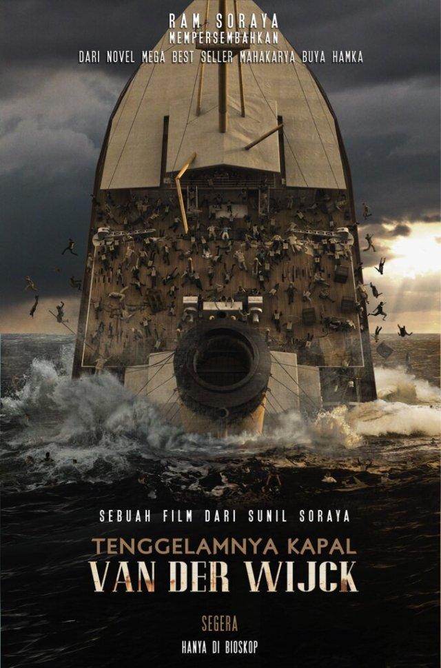 Affiche film Tenggelamnya Kapal Van der Wijck (december 2013). Deze afbeeldingsstrookt niet met de werkelijkheid: het schip zonk zijwaarts.