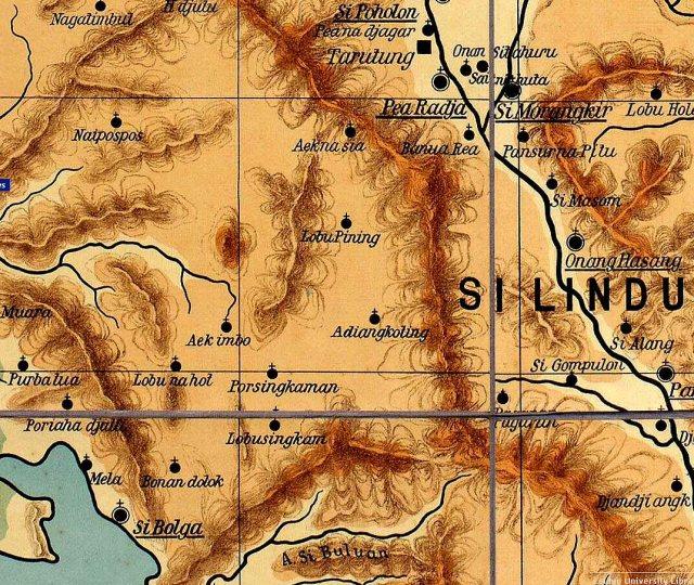 Kaart van gebied waar Lyman en Munson het Batakland binnentrokken, van Sibolga (linksonder, richting Taroetoeng (rechtsboven). Bij Loboe Pining (midden) werden zij vermoord.