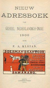 Kleian´s Nieuw Adresboek 1906, voorblad