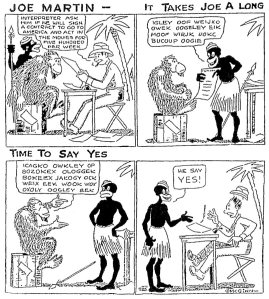 Ìn enkele Amerikaanse kranten verschenen  Joe Martin-cartoons