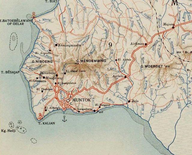 Muntok en Menoembing, kaart