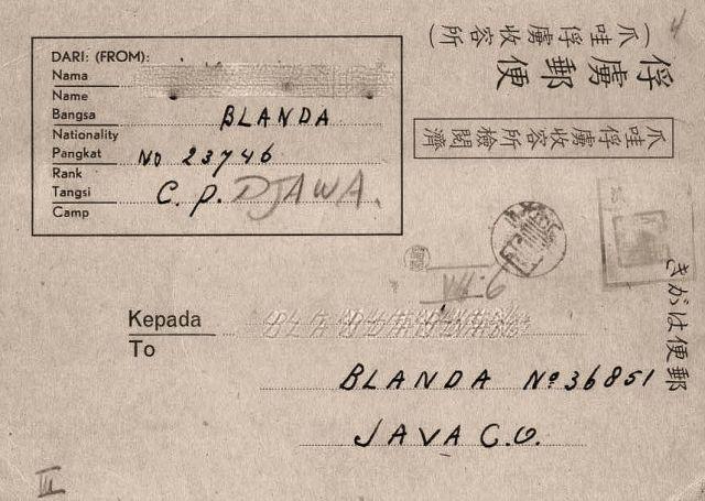Briefkaart, verzonden van interneringskamp Moentilan naar interneringskamp Tjimahi