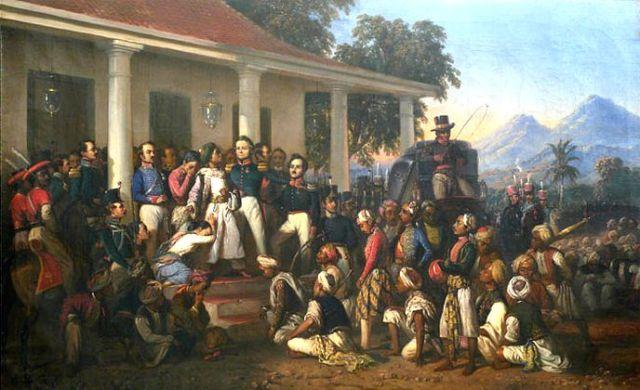 De gevangenneming van Diponegoro, door Raden Saleh