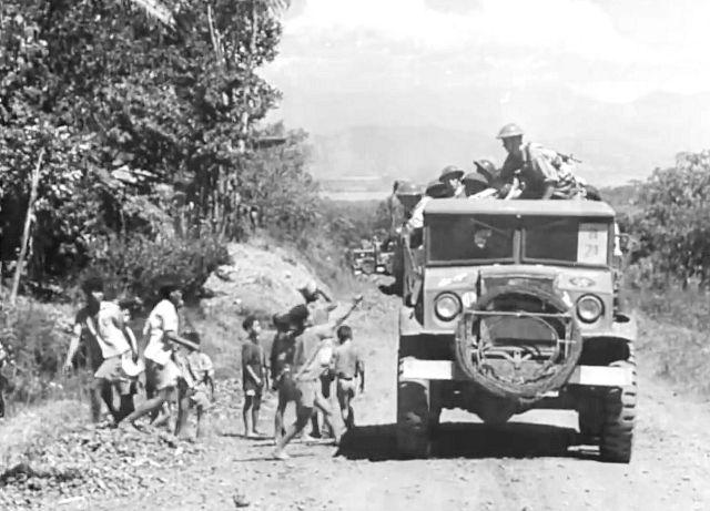 Konvooi Nederlandse militairen op Java, 1947