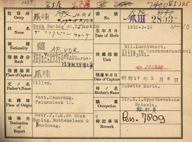 Japanse registratiekaart Tjaarda de Cock Buning (1910-2004)