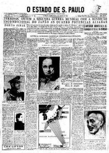De Japanse capitulatie, zoals aangekondigd, op 15 augustus 1945, in het Braziliaanse blad O Estado de Sao Paulo