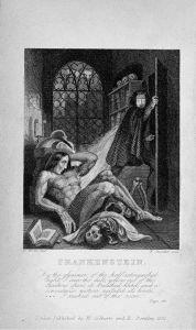 19e eeuwse afbeelding van het monster van Frankenstein