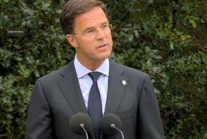 Minister-president Rutte, tijdens de herdenking, 2015