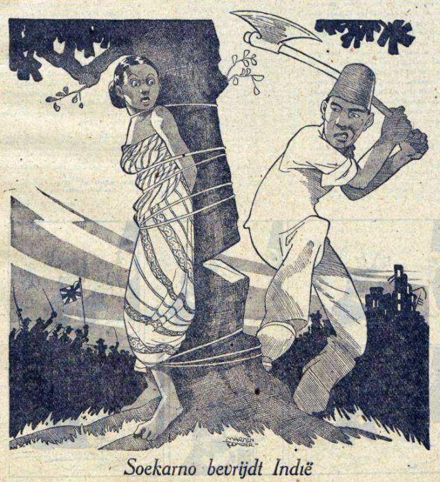 Soekarno bevrijdt Indië, spotprent van Marten Toonder