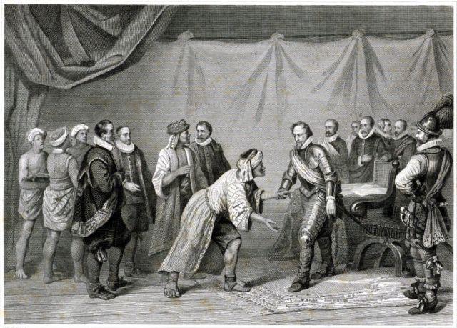Maurits ontvangt de afgezanten van de sultan van Atjeh, 1602. Gravure van Jan Frederik Christiaan Reckleben, 1840 - 1884