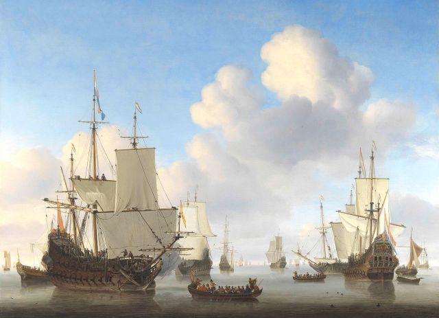 Hollandse schepen op een kalme zee. Willem van de Velde, ca. 1665. Rijksmuseum.