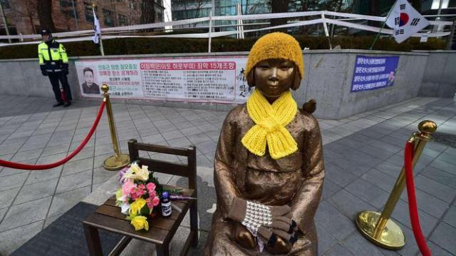 Beeld troostmeisjes in Seoul