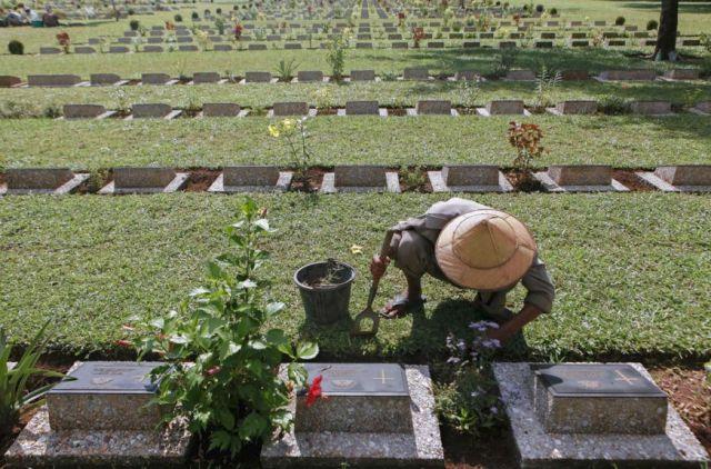 De erebegraafplaats Thanbyuzayat, waar ook Nederlandse slachtoffers hun laatste rustplaats hebben gevonden.