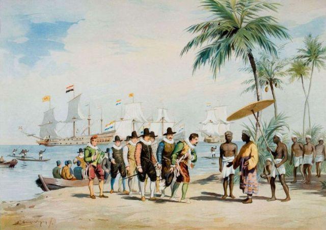Cornelis de Houtman arriveert in Bantam, 1596