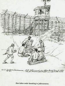 Jodensavanne, tekening van Rolf Breier