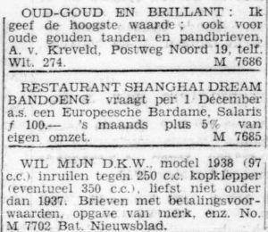 Advertentie Shanghai Dream, kort voor de Japanse bezetting (november 1941)