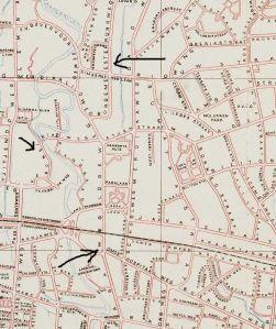 Lokatie van de genoemde clubs: Shanghai Dream aan de Bragaweg, Concordia (vermoedelijk) Kebon Siri, en de Shoko Club aan de Burgemeester Kuhrweg.