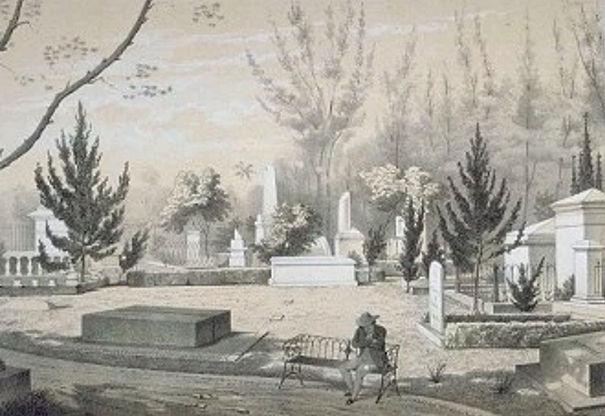 Charles Theodoor Deeleman: Gezigt op de Noordzijde van het kerkhof te Batavia, ca. 1859