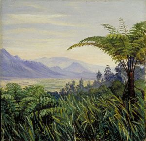 "Marianne North: ""Tree Fern in the Preanger Mountains, Java"", Painting 704. Olie op doek, afgebeeld: boomvarens. (Marianne North Gallery http://www.kew.org/mng/gallery/704.html )"