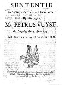 Vonnis Petrus Vuyst, 1732