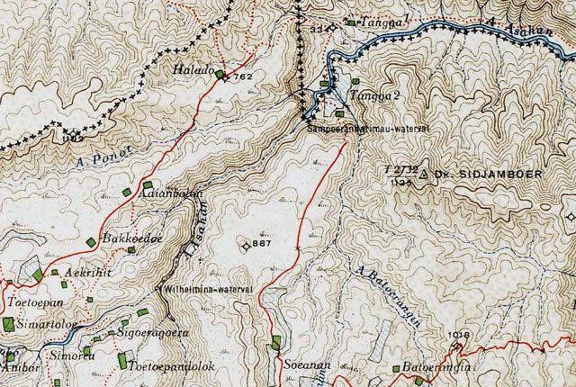 V.l.n.r.: Wilhelmina waterval, en Sampuran Harimau/Tangga waterval